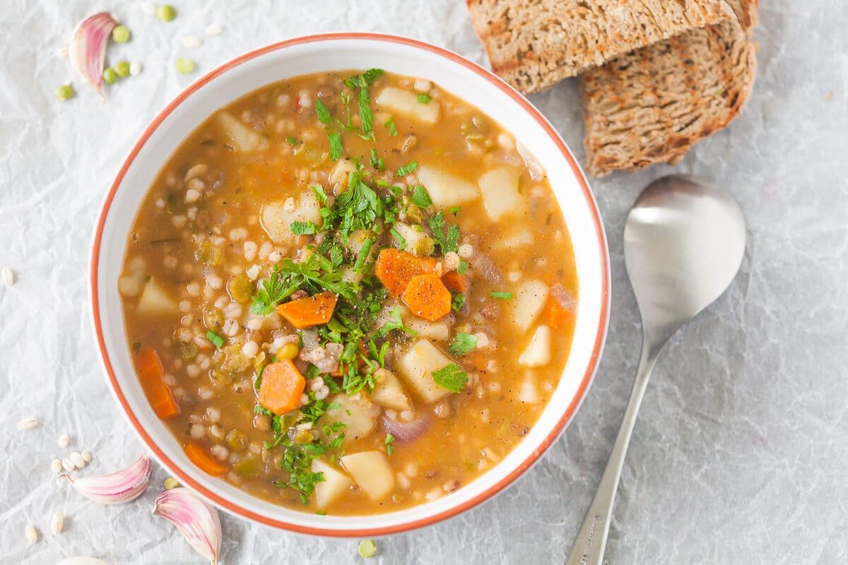 Vegan Barley and Lentil Soup