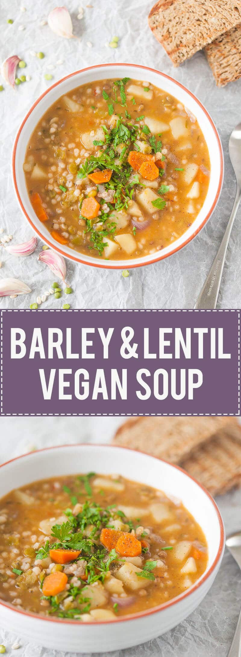 This Vegan Barley and Lentil Soup is rich and will fill you up and warm you on a cold winter day.
