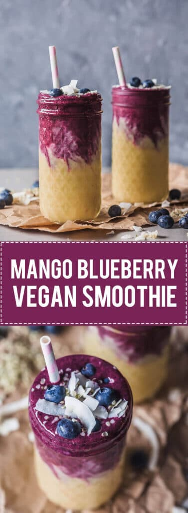 This lovely Mango Blueberry Smoothie uses frozen mango and blueberries and is perfect to maximize your nutrient intake in winter. | Vibrant Plate