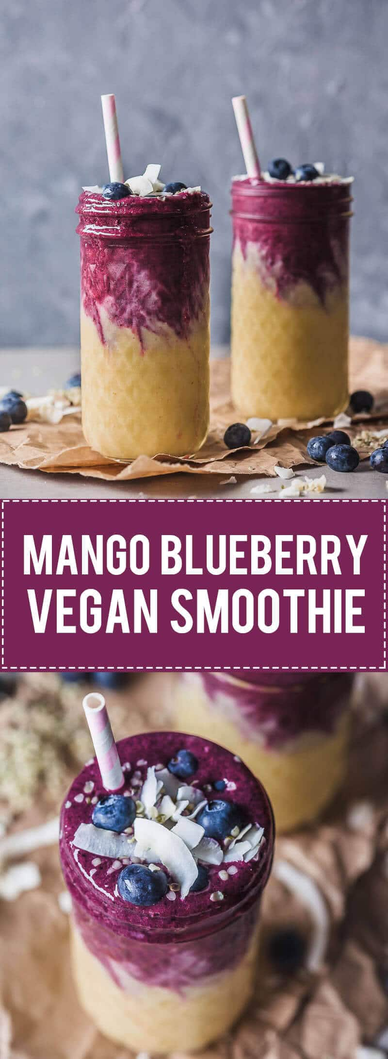 This lovely Mango Blueberry Smoothie uses frozen mango and blueberries and is perfect to maximize your nutrient intake in winter. Use dairy-free yogurt to make it vegan!