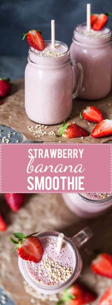 This Strawberry Banana Smoothie is a healthy breakfast option and ideal for an early spring morning. | www.vibrantplate.com