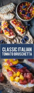 This Classic Italian Tomato Bruschetta is an easy and delicious appetizer of crispy toasted bread and delicious tomato topping. | www.vibrantplate.com