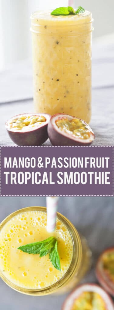 Turn mango and passion fruit into this tropical heaven. This Mango & Passion Fruit Tropical Smoothie is ideal for hot summer days. | www.vibrantplate.com