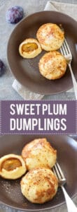 Plums come in all shapes and sizes, but our fave is the Damsons with their rich flavour. We turned them into these Delicious Sweet Dumplings with Plums. | www.vibrantplate.com