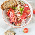 Tomato Salad with Feta Cheese, Onion and Pumpkin Seed Oil | www.vibrantplate.com