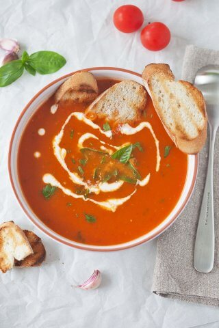 Tomato Soup from Fresh Ripe Tomatoes