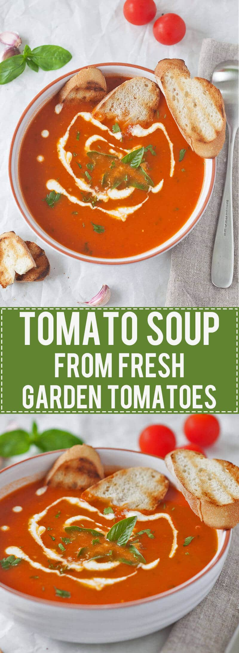 Simply amazing Tomato Soup from Fresh Ripe Tomatoes is delicious. Just 15 minutes and a couple of ingredients to make it, quick & easy! #tomatosoup