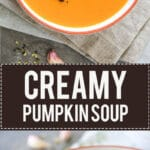 Nothing says Autumn more than a bowl of steamy & delicious pumpkin soup. Made from Red Kuri squash in just 15 minutes! | www.vibrantplate.com