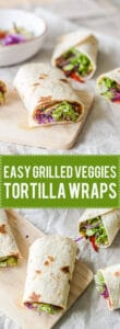 Grilled Veggies Tortilla Wraps with grilled zucchini and peppers, purple cabbage and salad. Super easy to make! | www.vibrantplate.com