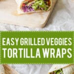 Grilled Veggies Tortilla Wraps with grilled zucchini and peppers, purple cabbage and salad. Super easy to make!   www.vibrantplate.com