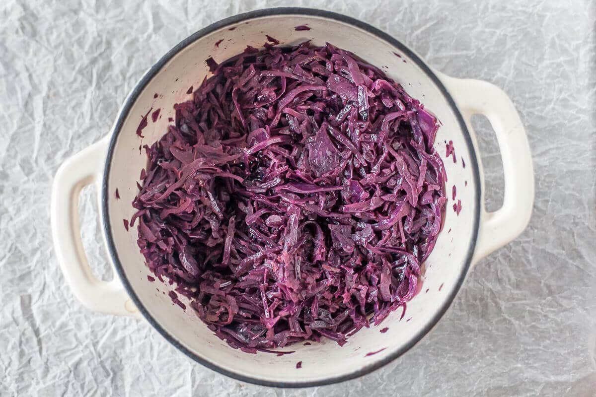 Braised Red Cabbage is nutritious and easy to make. With a Sweet and Sour taste, it is an excellent autumn side dish, perfect for Thanksgiving. | www.vibrantplate.com