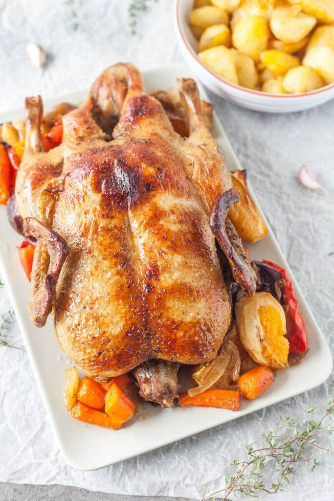 Roast Duck with Vegetables is the perfect celebration of Autumn. With a crispy skin and delicious juicy meat is a great Thanksgiving roast. | www.vibrantplate.com