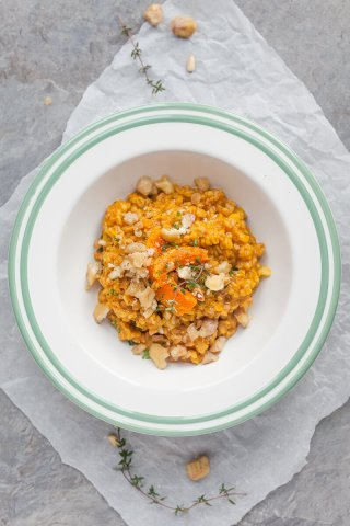 Farro Risotto is a healthier alternative to rice and goes well with fall vegetables. Top with roasted chestnuts for extra flavor!   www.vibrantplate.com