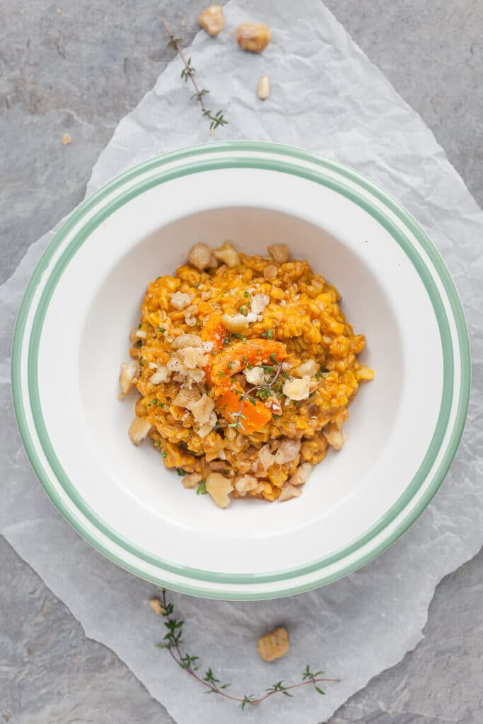 Farro Risotto is a healthier alternative to rice and goes well with fall vegetables. Top with roasted chestnuts for extra flavor! | www.vibrantplate.com