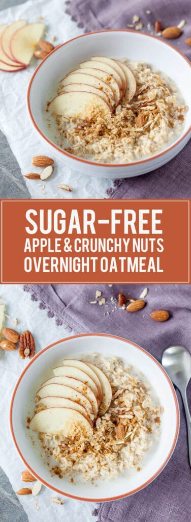 Sugar Free Apple & Crunchy Nuts Overnight Oatmeal - This delicious and healthy Sugar-Free Apple & Crunchy Nuts Overnight Oatmeal is the perfect start to a busy day! | www.vibrantplate.com