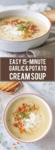 Cold days equal warm bowls of soup, such as this delicious & easy Garlic and Potato Cream Soup that you can make it just 15 minutes | www.vibrantplate.com