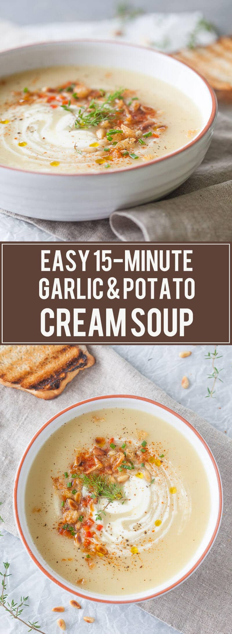 Cold days equal warm bowls of soup, such as this delicious & easy Garlic and Potato Cream Soup that you can make it just 15 minutes