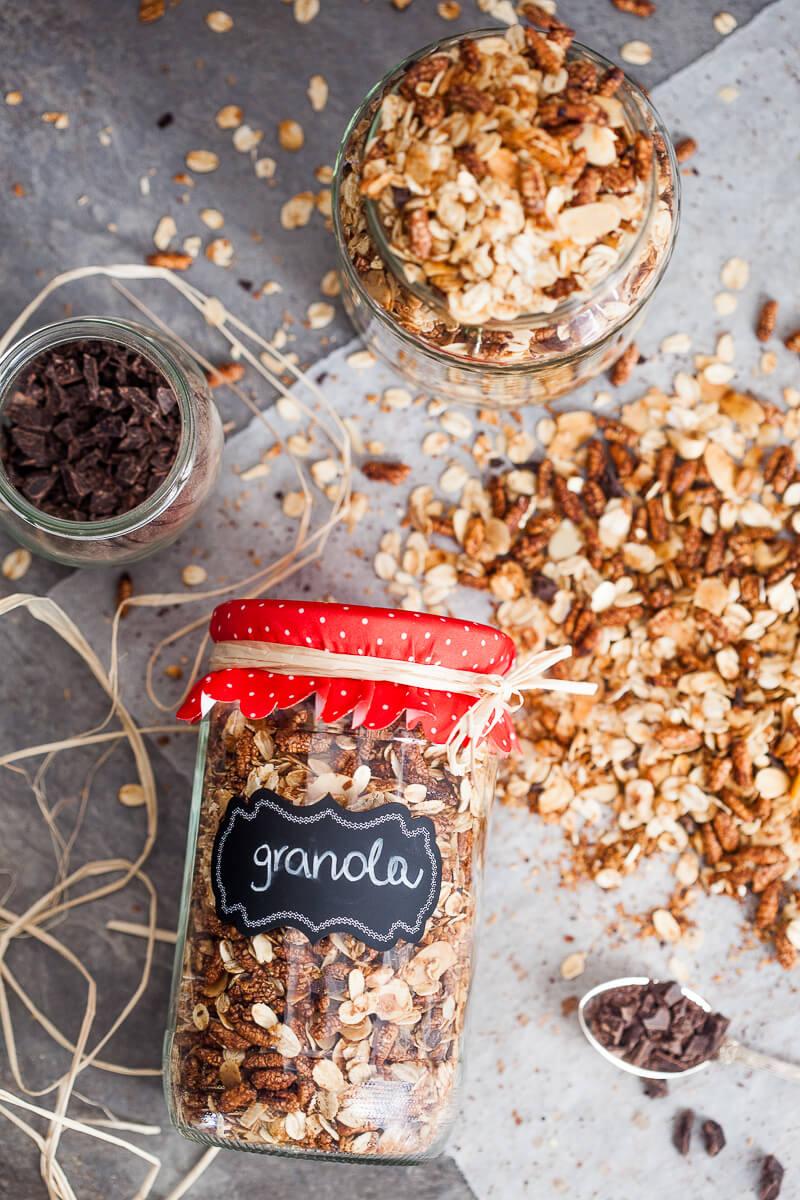 Healthy Dark Chocolate Breakfast Granola - Vibrant Plate