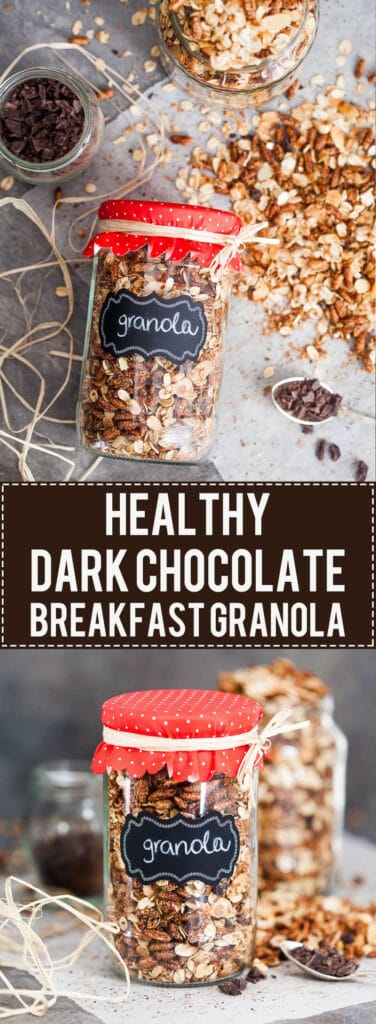 This Dark Chocolate Breakfast Granola is very easy to make, healthy and a great Christmas gift for your family or friends.