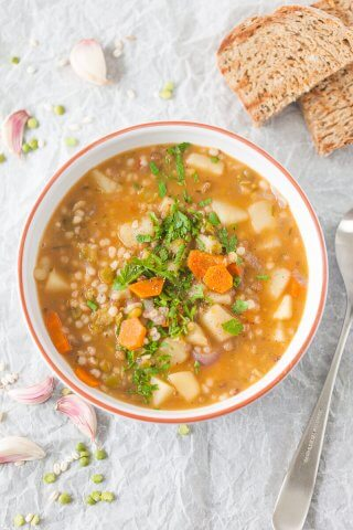 Vegan Barley and Lentil Soup