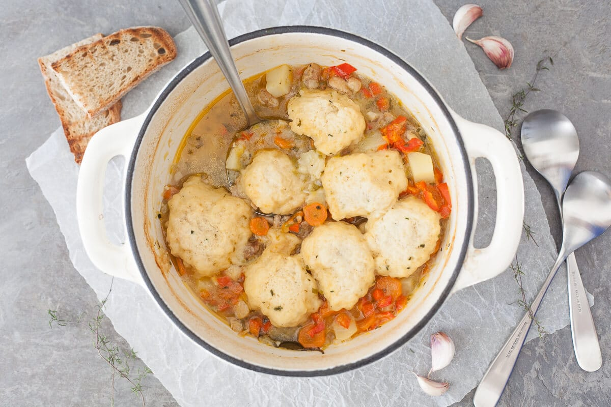 A pot of Chicken Stew with Fluffy Dumplings.