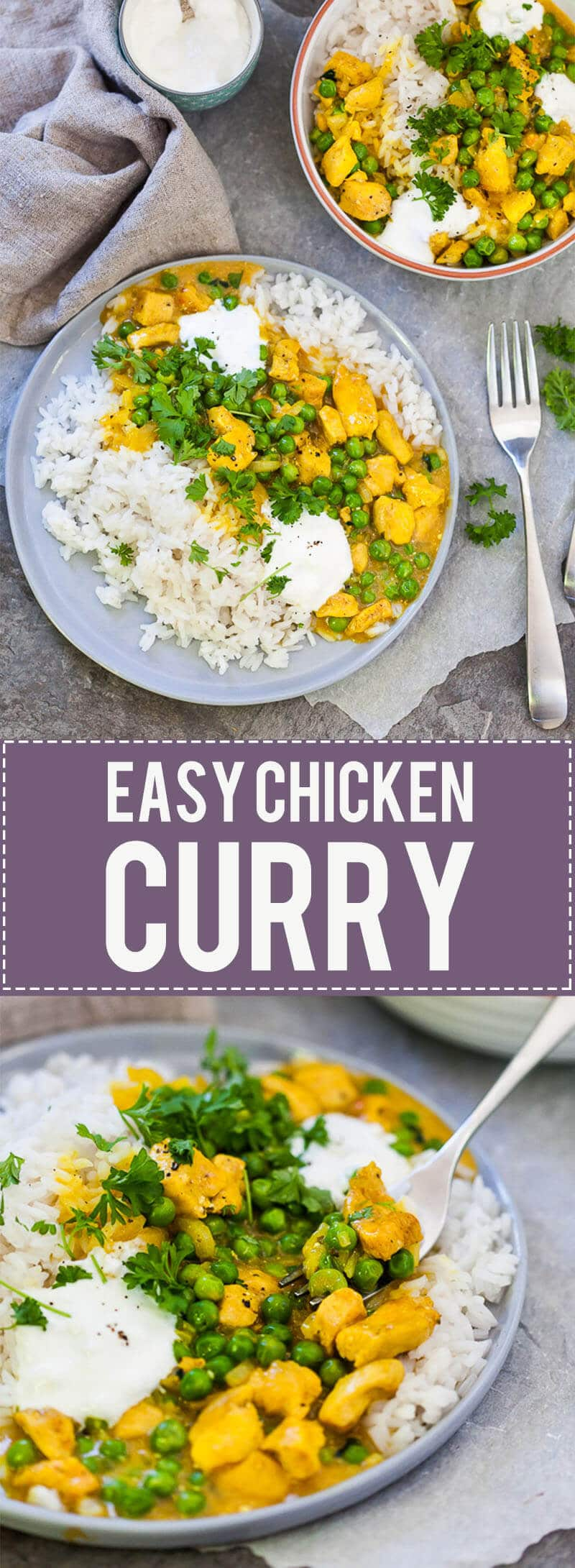 An Easy Chicken Curry is all you need on a gloomy winter day. Pair with plain fluffy rice and some sour cream for a perfect easy meal.