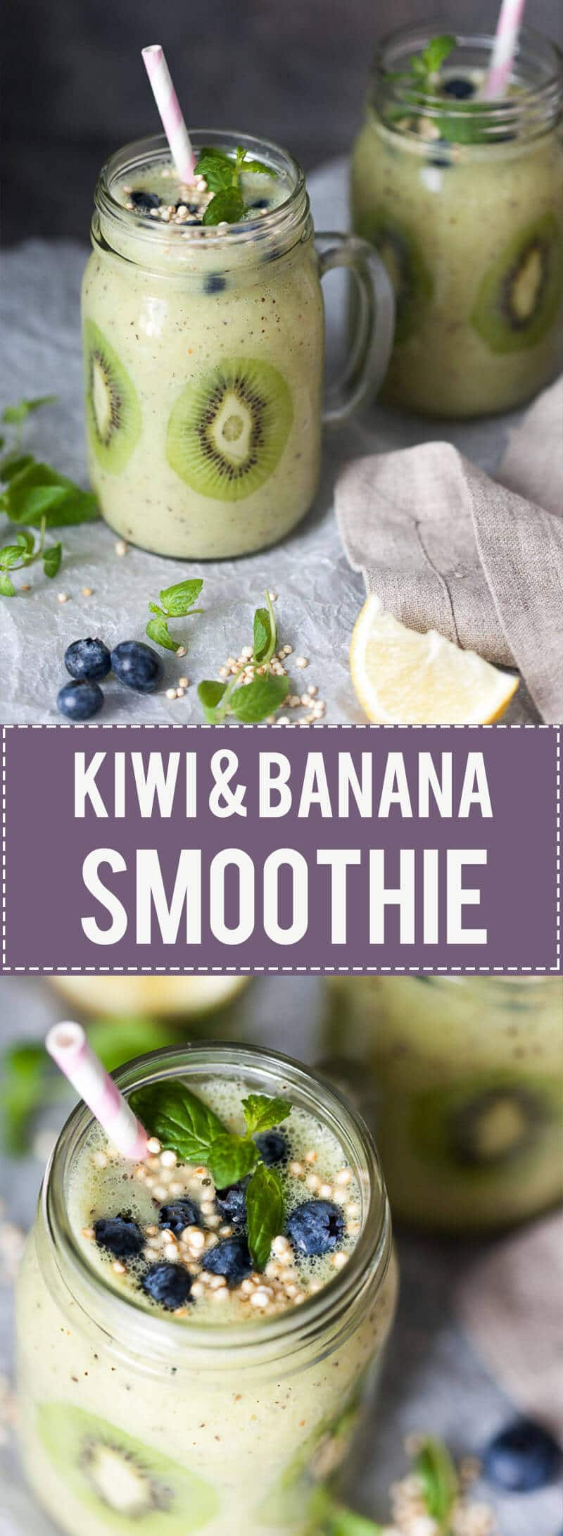 This Kiwi Banana Smoothie with Blueberries looks almost like Spring! Just a couple of minutes and a few ingredients to make. | www.vibrantplate.com