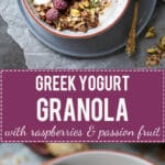 This Raspberry & Passion Fruit Greek Yogurt Granola is simply divine, plus it's fast & easy to make. Perfect breakfast choice! | www.vibrantplate.com