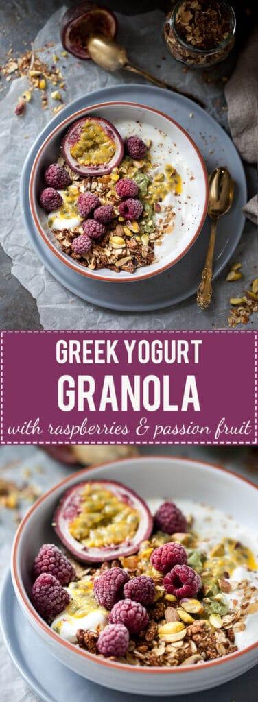 This Raspberry & Passion Fruit Greek Yogurt Granola is simply divine, plus it's fast & easy to make. Perfect breakfast choice! | www.vibrantplate.com
