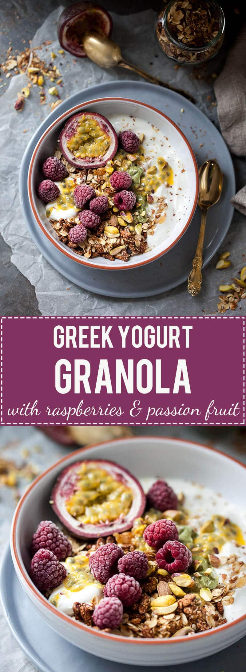 This Raspberry & Passion Fruit Greek Yogurt Granola is simply divine, plus it's fast & easy to make. Perfect breakfast choice!