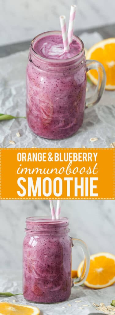 Orange & Blueberry ImmunoBoost Smoothie is packed with vitamins for a healthy winter. Get your vitamins in just 5 minutes!
