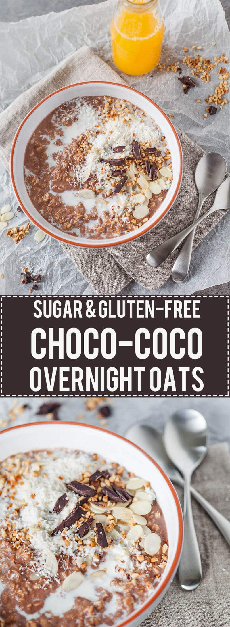 Guilt-free morning pleasure, this Sugar-free Choco-Coco Overnight Oats recipe is simply delicious. Gluten-free and healthy! | www.vibrantplate.com