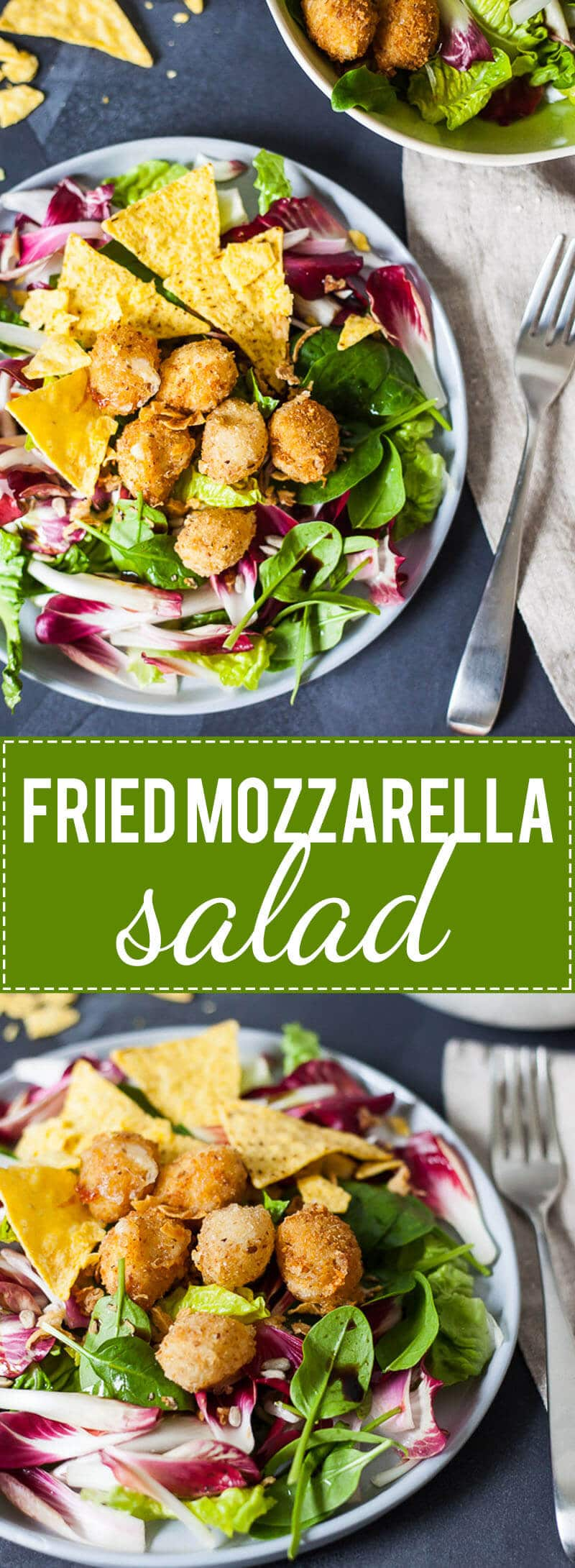 This Fried Mozzarella Salad is perfect when you want to eat healthily, but still, crave something cheesy and fried.