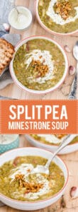 This Split Pea Minestrone is a rustic winter comfort food that will warm you up on a cold day. Skip bacon for a vegetarian option! | www.vibrantplate.com