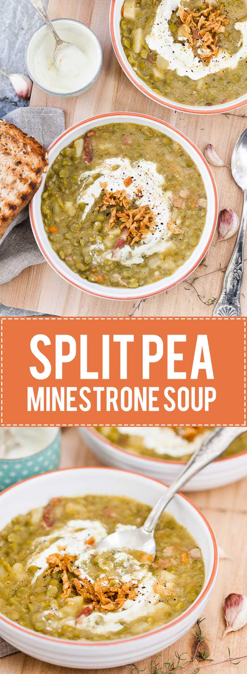 This Split Pea Minestrone is a rustic winter comfort food that will warm you up on a cold day. Skip bacon for a vegetarian option!