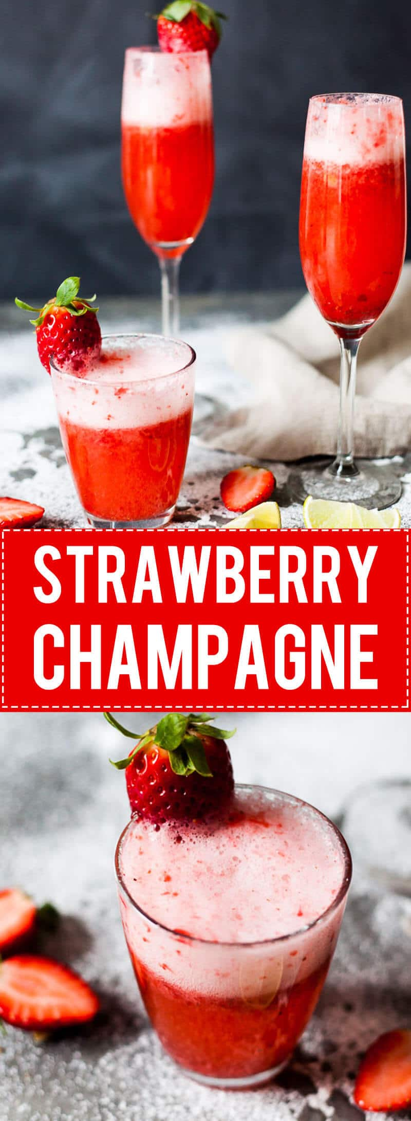 Celebrate Valentine's with this easy & delicious Strawberry Champagne! Mix champagne with strawberry puree for a delightful drink.