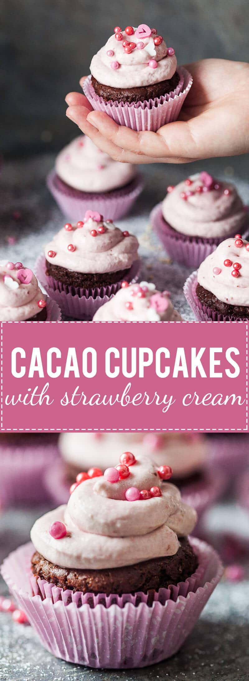Surprise your loved one with these Easy Cacao Cupcakes with Strawberry Cream. Vegan base and a delicious strawberry cream! | www.vibrantplate.com