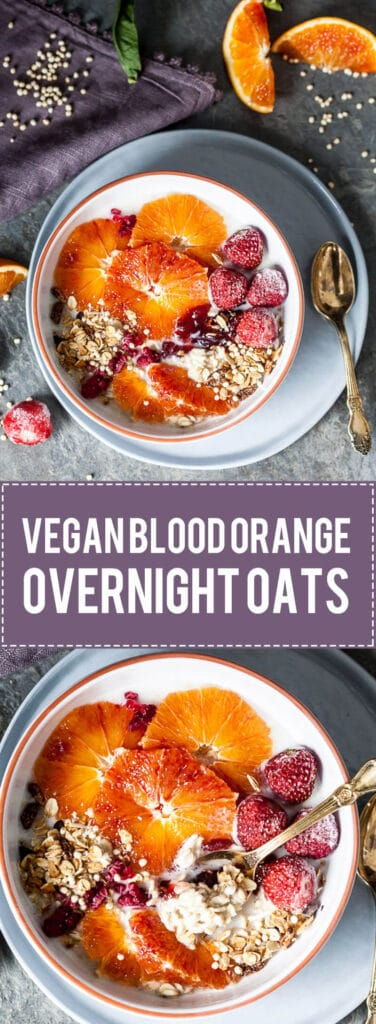 These Vegan Blood Orange Overnight Oats are an easy weekday breakfast that will keep you full and healthy.   www.vibrantplate.com