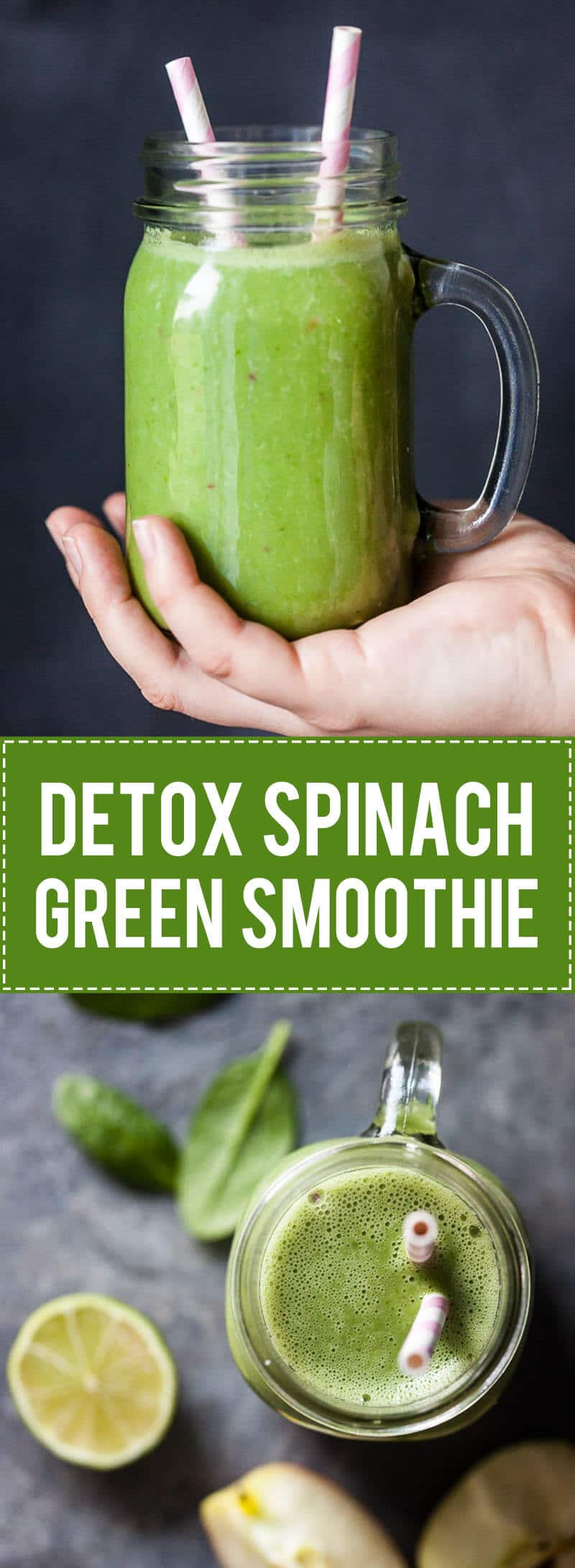 Start spring cleaning with a delicious & healthy Detox Spinach Green Smoothie. Just 5 ingredients for a powerful detox smoothie! | www.vibrantplate.com