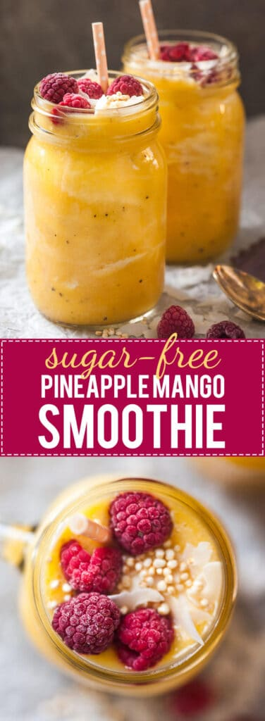 This lovely Pineapple Mango Smoothie is delicious, creamy and sugar-free! | www.vibrantplate.com