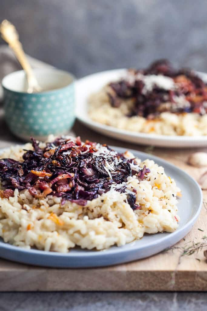 This Grilled Radicchio Risotto is a hearty dish that is ideal for a cold day when you crave stronger flavors. | www.vibrantplate.com
