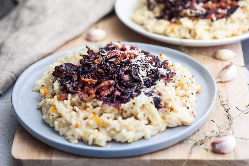Grilled Radicchio Risotto with Bacon