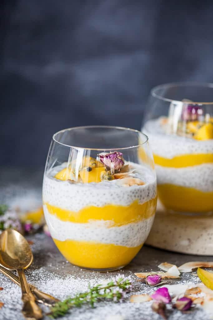This beautiful Coconut Milk Mango Chia Pudding is refreshing breakfast combo. Vegan and Gluten-Free! | www.vibrantplate.com