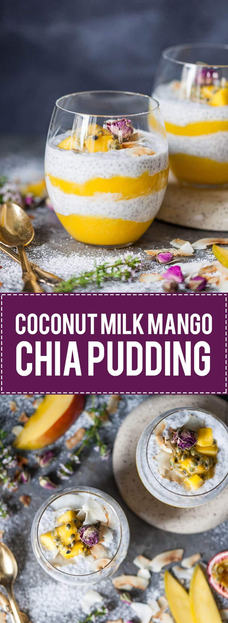 This beautiful Coconut Milk Mango Chia Pudding is refreshing breakfast combo. Vegan and Gluten-Free! | www.vibrantplate.com