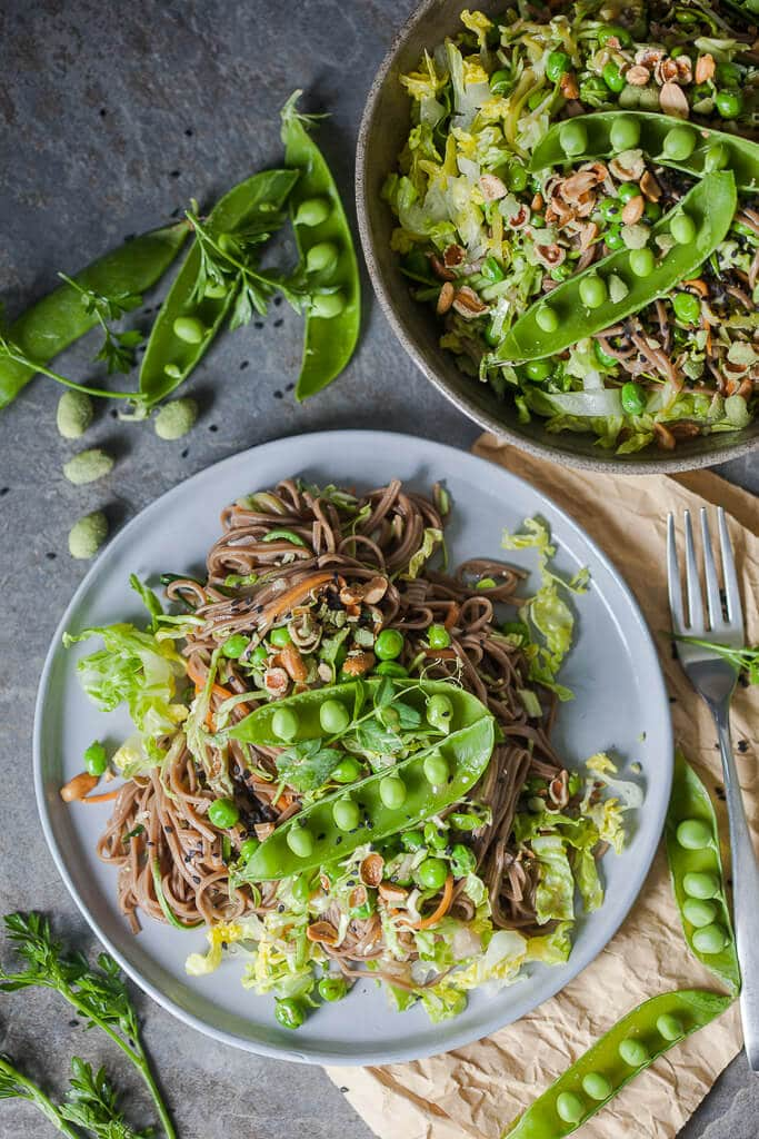 Spring Green Soba Noodle Salad is a refreshing salad for hot days with minimal cooking. | www.vibrantplate.com