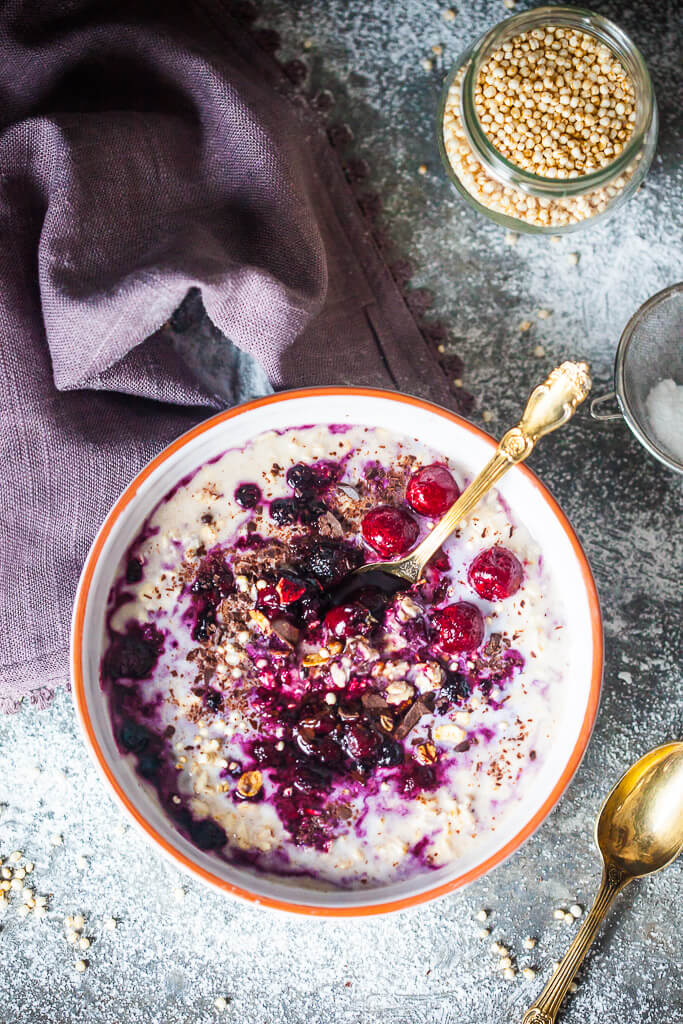 A lovely dish of Sour Cherry Overnight Oats is a great vegan breakfast! | www.vibrantplate.com