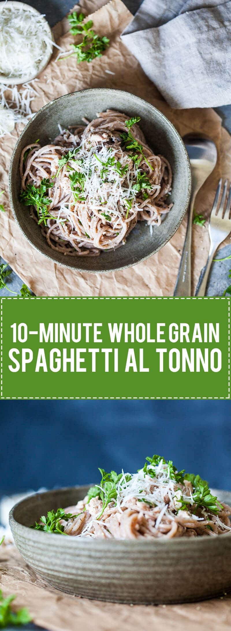 This Whole Grain Spaghetti al Tonno takes literally 10 minutes to make! | www.vibrantplate.com