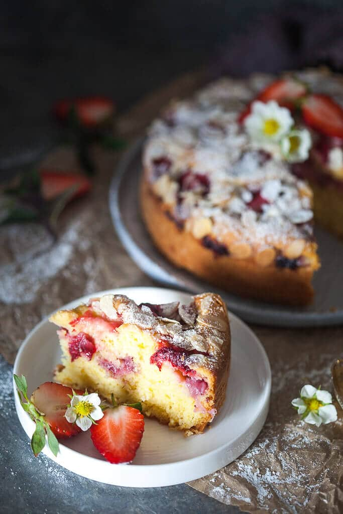 This Strawberry Yogurt Cake is fluffy, moist and dairy-free. A perfect Spring cake! | www.vibrantplate.com