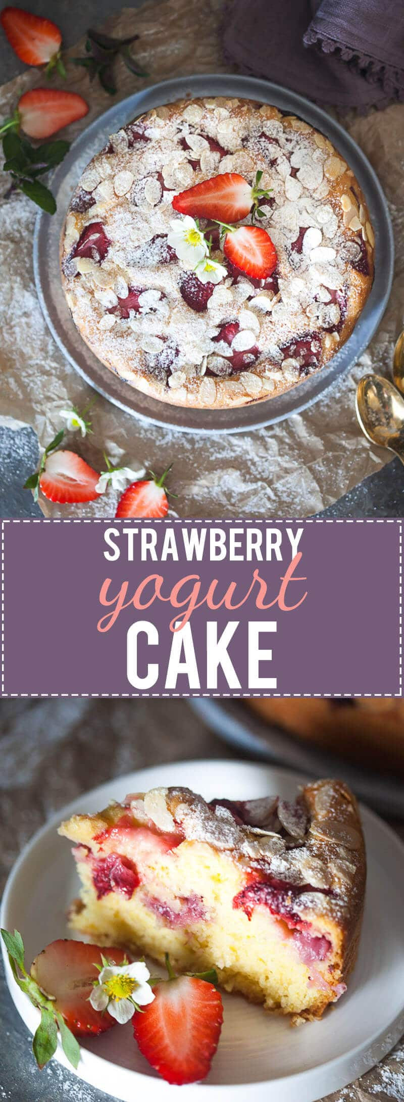 This Strawberry Yogurt Cake is flauffy, moist and dairy-free. A perfect Spring cake!   www.vibrantplate.com