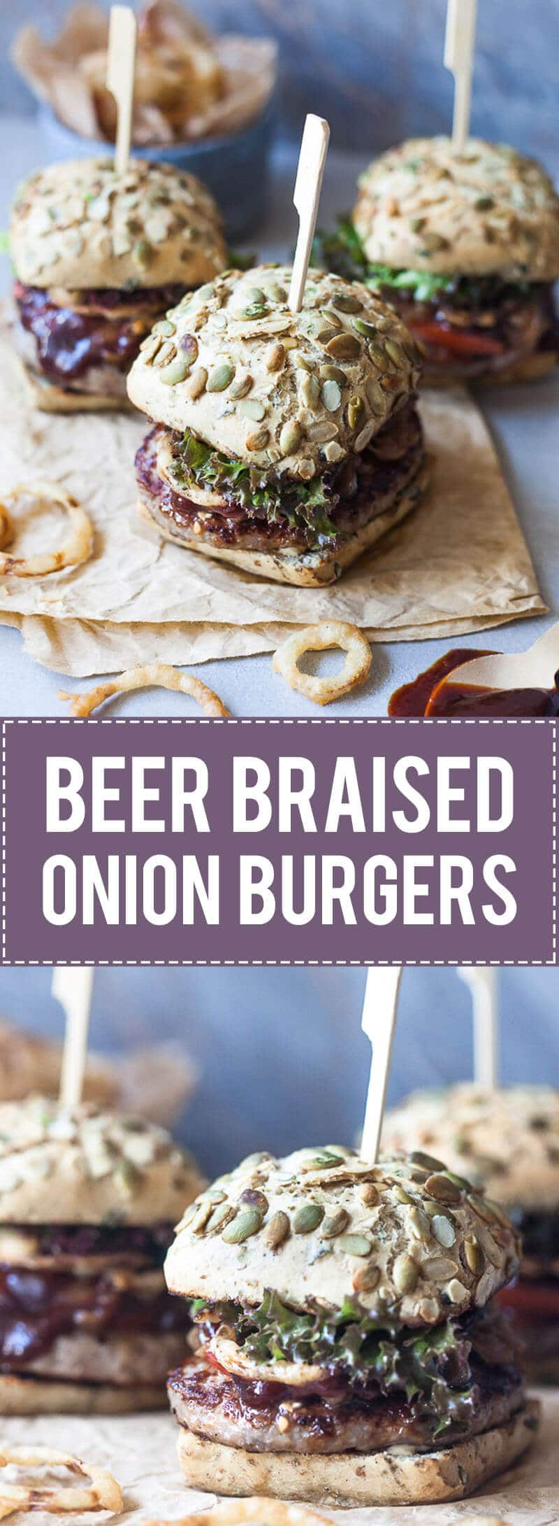 Beer Braised Onion Burgers are the perfect grill recipe! Topped with Crispy Onion Rings for extra crunch.   www.vibrantplate.com